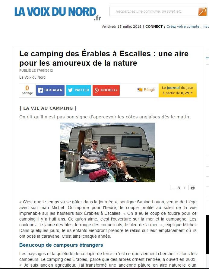 Le camping des Érables à Escalles  une aire pour les amoureux de la nature - La Voix du Nord - Google Chrome